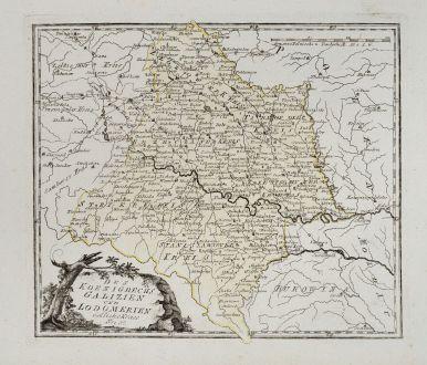 Antike Landkarten, von Reilly, Polen, Galizien, 1791: Des Koenigreichs Galizien und Lodomerien östliche Kreise.