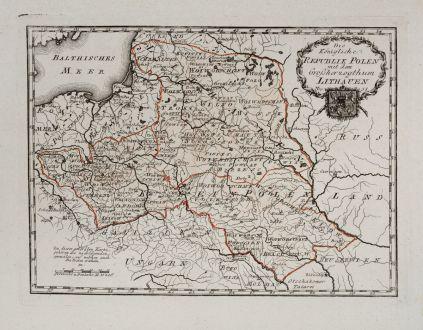 Antique Maps, von Reilly, Poland, 1791: Die königliche Republik Polen mit dem Großherzogthum Litauen.