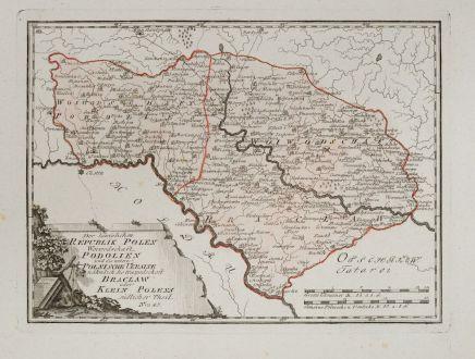 Antike Landkarten, von Reilly, Ukraine, Brazlaw, 1791: Der Koniglichen Republik Polen Woiwodschaften Podolien und die untere Polnische Ukraine nahmlich die Woiwodschaft Bracklaw...