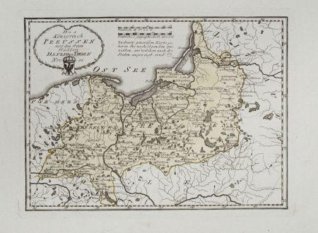 Antike Landkarten, von Reilly, Polen, Preussen, 1791: Das Königreich Preussen mit den freien Städten Danzig u Thorn