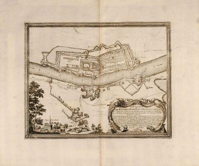 Antike Landkarten, Pufendorf, Polen, Malbork, Marienburg, 1697: Ichnogrphia Oppidi et Castri Marieburgi in Prussia
