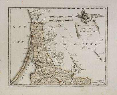 Antike Landkarten, von Reilly, Baltikum, Litauen, Memel, Königsberg, 1791: Des Königreichs Preussen nordlichster Theil