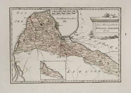 Antique Maps, von Reilly, Baltic, Latvia, Courland, Semigallia, 1791: Das Herzogthum Kurland u. Semgallen.