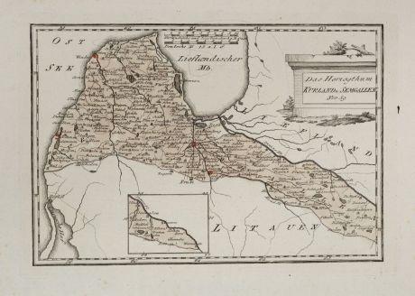 Antike Landkarten, von Reilly, Baltikum, Lettland, Kurland, Semgallen, 1791: Das Herzogthum Kurland u. Semgallen.
