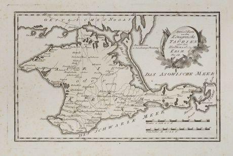 Antike Landkarten, von Reilly, Ukraine, Krim, 1791: Spezial Karte von dem Königreiche Taurien oder der Halbinsel Krim