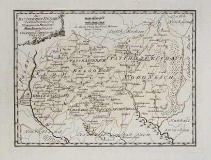 Antike Landkarten, von Reilly, Ukraine, 1791: Des russischen Reiches Statthalterschaften Woronesch, Belgorod, Kiow o. Kleinrussland und Charkow od. d. Russische Ukraine