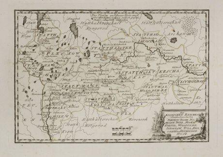 Antike Landkarten, von Reilly, Russland, 1791: Des Russischen Reiches Statthalterschaften Pleskow, Polozk, Mohilew, Twer, Moskau, Koluga, Wolodimer, Iaroslaw, Tula, Smo,...