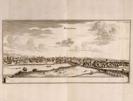 Antike Landkarten, Merian, Frankreich, Roanne, Loire, 1657: Rovanne