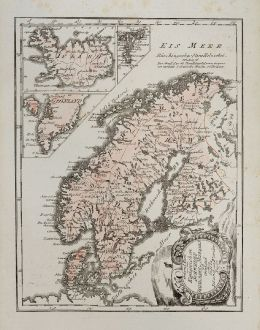 Antique Maps, von Reilly, Scandinavia, Sweden, Norway, Iceland, Faroe Islands: General Karte von den Konigreichen Schweden, Dänemark u. Norwegen mit Grönland und den Inseln Island und Faeröer