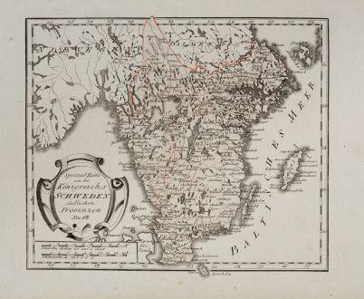 Antike Landkarten, von Reilly, Skandinavien, Schweden, 1791: Spezial Karte von des Königreichs Schweden südlichen Provinzen
