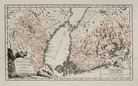 Antique Maps, von Reilly, Scandinavia, Finland, Sweden, 1791: Des Königreichs Schweden mittlere Provinzen