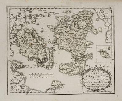 Antike Landkarten, von Reilly, Skandinavien, Dänemark, Fünen, Seeland, 1791: Des Königreichs Daenemark Inseln Seeland, Möen, Bornholm, Fünen, Langeland, Laaland, Falster und den dazu gehörigen...