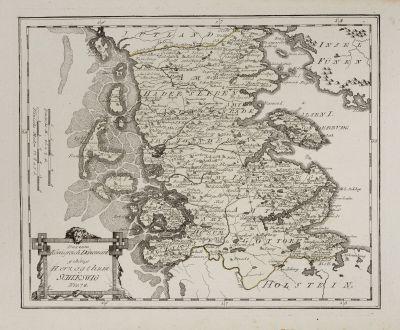 Antike Landkarten, von Reilly, Skandinavien, Dänemark, 1791: Das zum Königreich Dänemark gehörige Herzogthum Schleswig