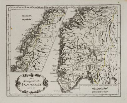Antique Maps, von Reilly, Scandinavia, Norway, 1791: Das Königreich Norwegen.