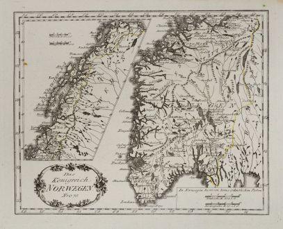 Antike Landkarten, von Reilly, Skandinavien, Norwegen, 1791: Das Königreich Norwegen.