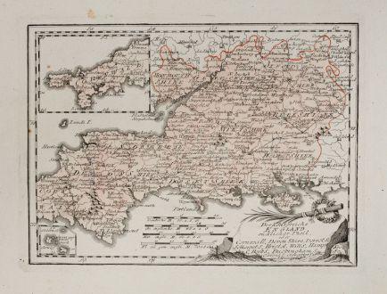 Antike Landkarten, von Reilly, Britische Inseln, England, 1791: Des Königreichs England südlicher Theil, oder Cornwall Shire, Devon Shire, Derset S., Somerset S., Bristol, Wilt S., Hamp...