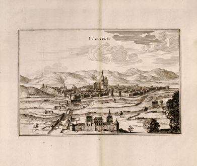 Antique Maps, Merian, France, Louviers, Normandy, 1657: Lovviere