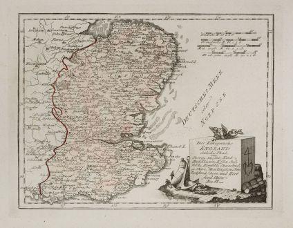 Antike Landkarten, von Reilly, Britische Inseln, England, 1791: Des Königreichs England östlicher Theil, oder Surrey, Sussex, Kent ... und Hert ford Shrie.