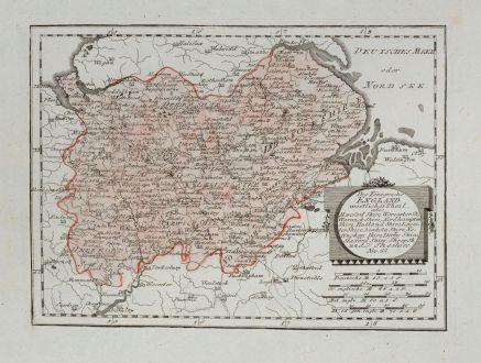 Antike Landkarten, von Reilly, Britische Inseln, England, 1791: Des Königreichs England westlicher Theil, oder Hereford Shire ... Linkoln Shire ... Sheshire