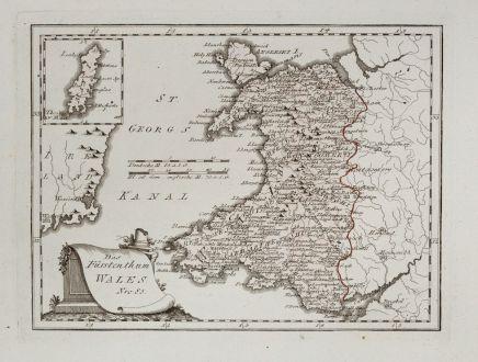 Antike Landkarten, von Reilly, Britische Inseln, Wales, 1791: Das Fürstenthum Wales