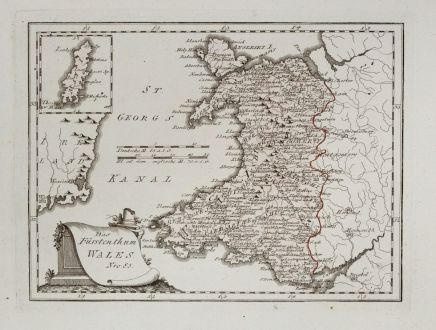 Antique Maps, von Reilly, British Isles, Wales, 1791: Das Fürstenthum Wales