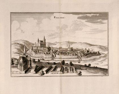 Antike Landkarten, Merian, Frankreich, Falaise, Basse Normandie, 1657: Fallaise