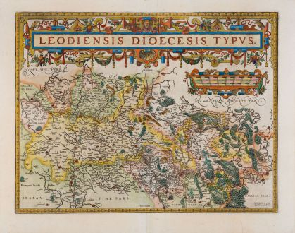 Antique Maps, Ortelius, Low Countries, Belgium, 1598: Leodiensis Dioecesis Typus
