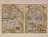 Kolorierte Landkarte des Bodensees, Basel, Schweiz, Süddeutschland. Gedruckt in Antwerpen im Jahre 1574.