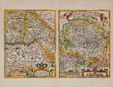 Coloured map of Basel, Switzerland. Printed in Antwerp in the year 1574.