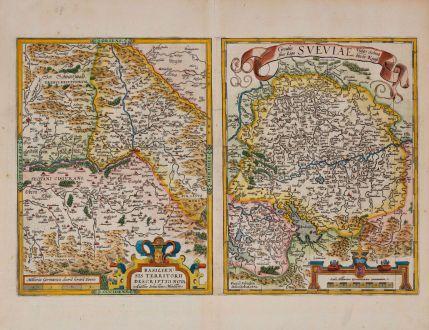 Antique Maps, Ortelius, Germany, Switzerland, Basel, 1574: Basiliensis Territorii Descriptio Nova, Auctore Sebastiano Munstero / Circulus sive Liga Sueviae, vulgo Schwabische Kraiss
