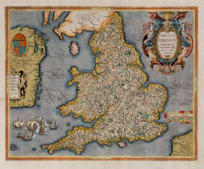 Antique Maps, Ortelius, British Isles, Wales, England, 1603: Anglia regnum si quod aliud in toto Oceano ditissimum et florentissimum