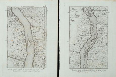 Antique Maps, Norden, Egypt, Nile River, 1795: Cours du Nil