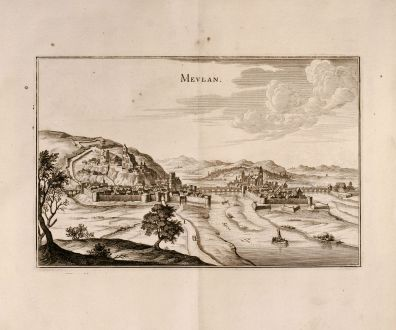 Antique Maps, Merian, France, Meulan, Ile-de-France, 1657: Mevlan