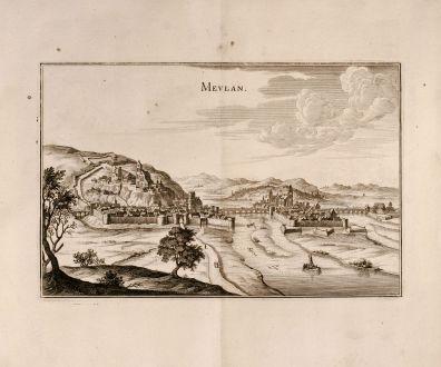 Antike Landkarten, Merian, Frankreich, Meulan, Ile-de-France, 1657: Mevlan