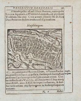 Antike Landkarten, Saur, Deutschland, Sachsen-Anhalt, Magdeburg, 1595: Magdeburgum, Meydenbvrg [Meydenburg]
