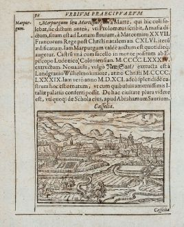 Antique Maps, Saur, Germany, Hesse, Kassel, Marburg, 1595: Casselia, Marpurgum