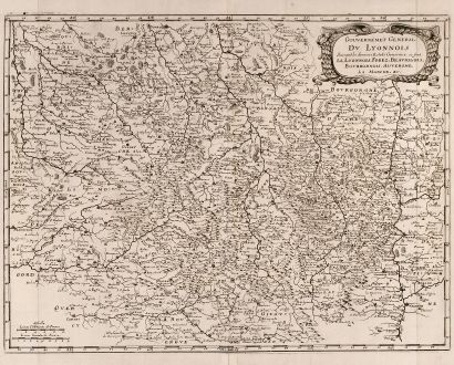 Antique Maps, Merian, France, Lyon, 1657: Gouvernement General Du Lyonnois