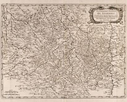 Antike Landkarten, Merian, Frankreich, Lyon, 1657: Gouvernement General Du Lyonnois