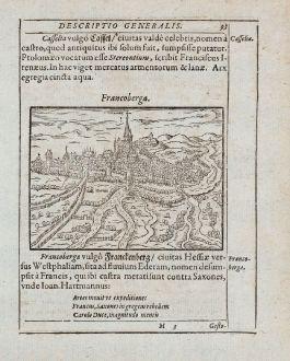 Antike Landkarten, Saur, Deutschland, Hessen, Frankenberg (Eder), 1595: Francoberga [Franckenberg]