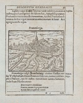 Antique Maps, Saur, Germany, Hesse, Frankenberg (Eder), 1595: Francoberga [Franckenberg]