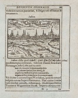 Antique Maps, Saur, Germany, Schleswig-Holstein, Lübeck, Lüneburg, 1595: Lubeca, Lvbeck [Lübeck], Luneburgum, Lüneburg
