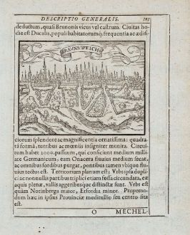 Antike Landkarten, Saur, Deutschland, Niedersachsen, Braunschweig, Rostock, 1595: Bravnsweich [Braunsweich], Rostochium [Rostock]