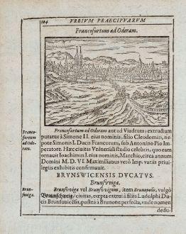 Antike Landkarten, Saur, Deutschland, Brandenburg, Frankfurt (Oder), 1595: Francofurtum ad Oderam [Frankfurt an der Oder]
