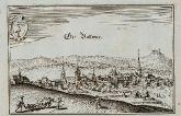 Antike Ansicht von Großbottwar, Baden-Württemberg. Gedruckt bei M. Merian im Jahre 1643 in Frankfurt.