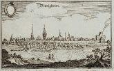 Antike Ansicht von Bönnigheim, Baden-Württemberg. Gedruckt bei M. Merian im Jahre 1643 in Frankfurt.