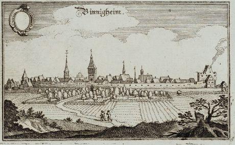 Antique Maps, Merian, Germany, Baden-Wurttemberg, Bönnigheim, 1643: Binnigheim