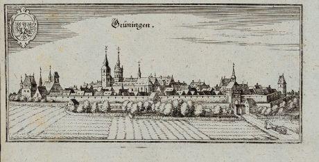 Antike Landkarten, Merian, Deutschland, Baden-Württemberg, Grüningen, 1643: Grüningen