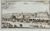 Antike Ansicht von Lauffen am Neckar, Baden-Württemberg. Gedruckt bei M. Merian im Jahre 1643 in Frankfurt.