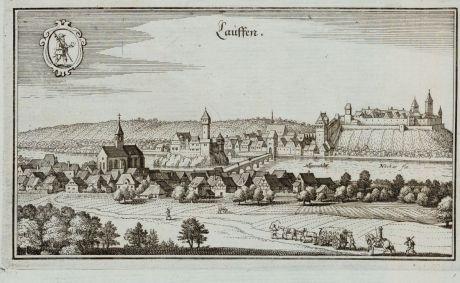 Antike Landkarten, Merian, Deutschland, Baden-Württemberg, Lauffen am Neckar: Lauffen