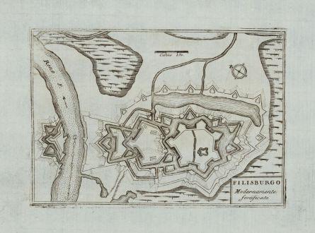 Antique Maps, Coronelli, Germany, Baden-Württemberg, Fortress Philippsburg: Filisburgo modernamente fortificato
